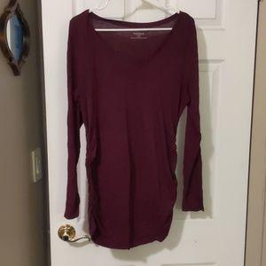 Long sleeved maroon maternity shirt